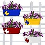 #8: TrustBasket Butterfly Oval Balcony Railing Planter (Set of 4 Multicolor)