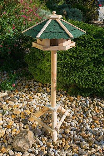 Edles Sechseckiges Vogelhaus 130022 mit Ständer Massivholz 115 cm hoch und mit Schindeldach gedeckt Futterkrippe Futterspender Futterhaus - 4