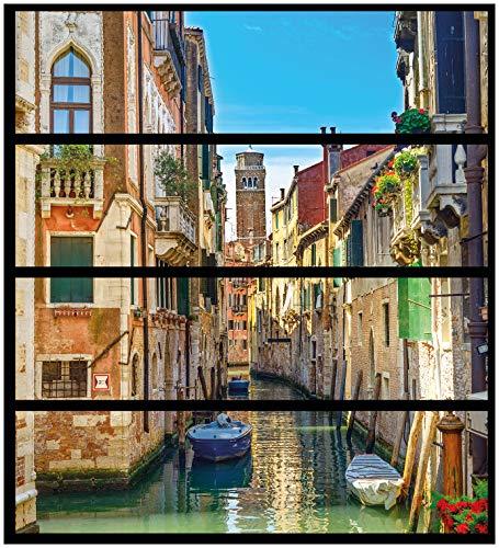 Wallario Möbelfolie/Aufkleber, geeignet für IKEA Malm Kommode - Urlaub in Venedig, Kanal zwischen bunten Häusern mit 4 Schubfächern
