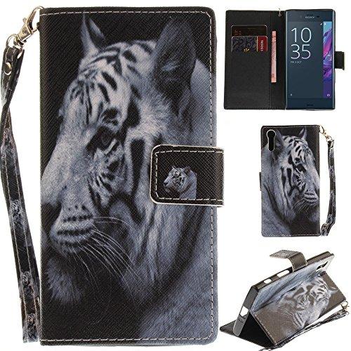 Ooboom® Sony Xperia XZ / XZs Hülle Flip PU Leder Handy Tasche Case Cover Schutzhülle Wallet Ständer Karte Halter für Sony Xperia XZ / XZs - Weiß Tiger