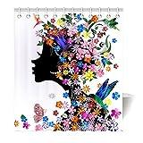 Violetpos Duschvorhang Mode Blume Silhouette Art Hochwertige Qualität Badezimmer 180 x 200 cm
