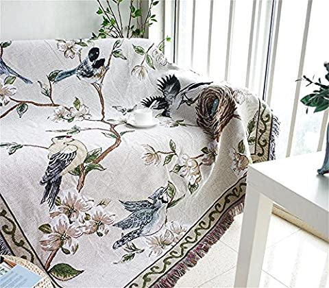 Deko 100% gewebte Baumwolle Überwurf Decke mit Fransen Strick Handtuch Steppdecke für Couch in gelb, Blue Moon Sonne 129,5x 167,6cm