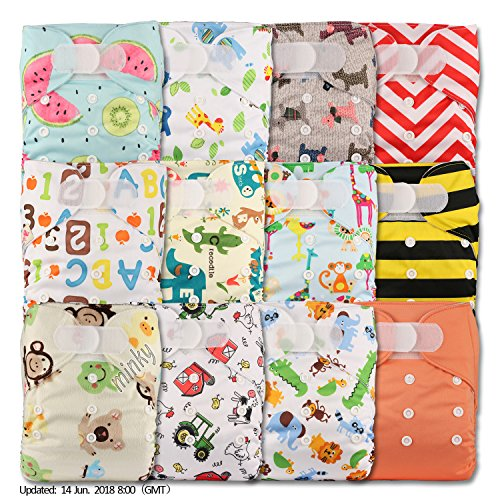 LittleBloom, Reusable Pocket Cloth Nappy, Fastener: Hook-Loop, Set of 12