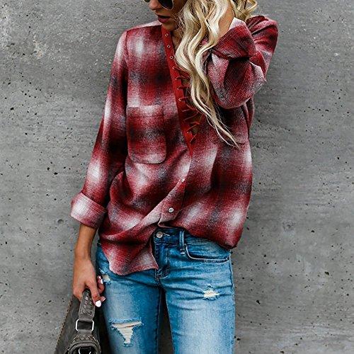 Juleya Donna Manica Lunga Camicetta - Sexy V-Collo Plaid Benda Sciolto Bluse con Tasca Autunno e Primavera Casual Slim Elegante Tops Camicia Vino Rosso/Blu S-XL vino rosso B