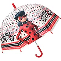 Chanos Chanos Miraculous Lady Bug Manual Dome Shape PoE Transparent Folding Umbrella, 45 cm,
