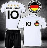 ElevenSports Deutschland Trikot + Hose mit GRATIS Wunschname + Nummer + Wappen Typ #D26 im EM/WM Weiss - Geschenke für Kinder,Jungen,Baby. Fußball T-Shirt personalisiert