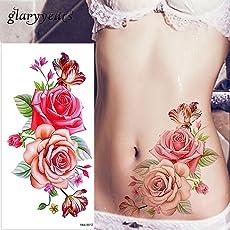 glaryyears 1 Sheet Dazzle Blossom Rose Flower Peony Tattoo Temporary Watercolor Tattoo Sticker for Women Body Art 28 TBX Designs
