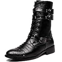 Mens Rivet Buckle Decoration Mid Calf Boot Zipper Punk Rock Martin Boots Scarpe Resistenti All'abrasione Calzature da…