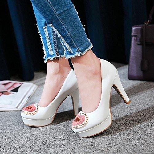 MissSaSa Femmes Chaussures Talons Hauts et Bloc Escarpins Bout Ronde Blanc