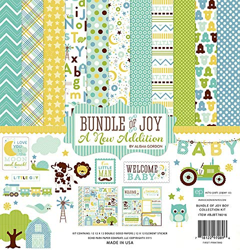 Echo Park Collection Kit 30,5 cm x 30,5 cm, Wonneproppen/EIN Zusatz - Baby-Junge (Joy-boy Echo Park Of Paper-bundle)