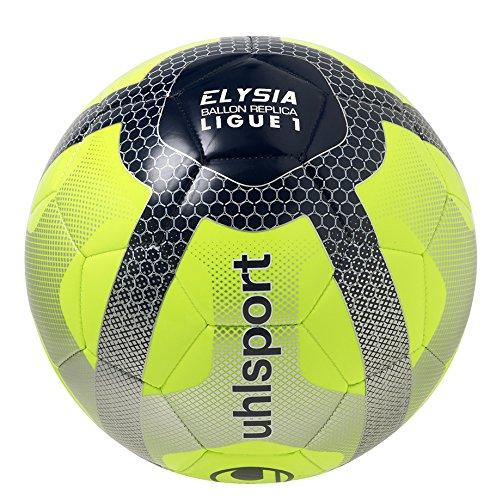 Uhlsport Elysia Replica Ballon de Football Mixte Adulte, Jaune Fluo/Bleu Marine/Argent