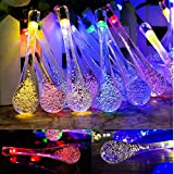 Goodia multi color 4.8M 20 LED Icicle Lights Solar Powered Raindrop Garden String Fairy Lights/ LED Waterproof Decorative Lights for Outdoor, Garden, Patio, Christmas, Xmas Tree, Holiday Party