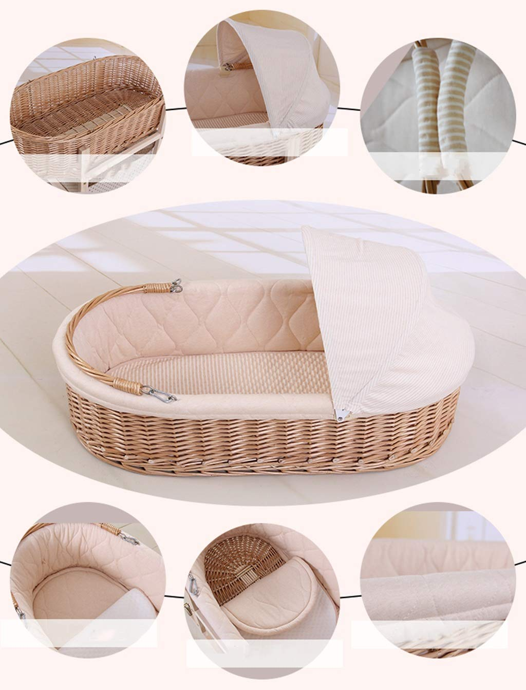 It Can Move Baby Cot, Multifunction Portable Cradle Portable Car Load Baby Travel Bed, 60 * 90CM (Size : 90 * 60CM) Zhao ♥ Product Name: Removable Baby Crib// Size: 60*90CM//Material: Wood; ♥Characteristics: Sturdy detachable beam, can be pushed and pushed double mode, mosquito net and sunshade, lower storage pocket, high quality colored cotton comfortable mattress, soft and smooth, giving baby comfort and enjoyment; ♥Bionic uterus design, give your baby enough safety, let the baby sleep sweetly; 4