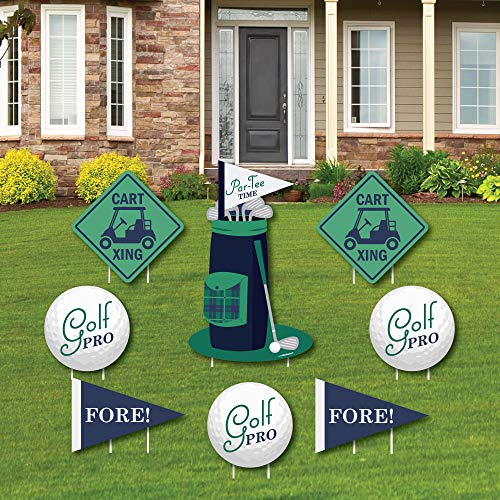 Big Dot of Happiness Par-Tee Time - Golf - Yard Schild & Outdoor Rasen Dekoration - Geburtstag oder Ruhestand Party Yard Schilder - Set von 8 Stück