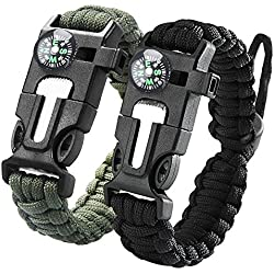 iRainy [2Pack] Adjustable Survival Paracord Bracelet W Flint Fire Starter Scraper Compass Whistle Fits Men Women Kids for Hiking,Camping,Boating Emergency or Other Outdoor Activities