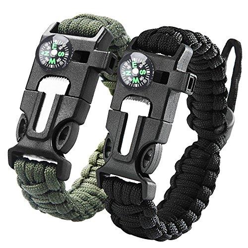 iRainy [2Pack] Regolabile Bracciali di sopravvivenza in paracord,bracciale sopravvivenza W avviamento di fuoco Raschiatore bussola fischio per l\'escursione del campeggio di emergenza