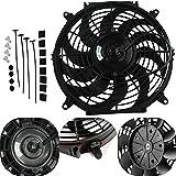 ALLOYWORKS Universal 12' Push/Pull Electric Radiator Cooling Fan Car Slim Fan + Mount Kit (12V 80W)