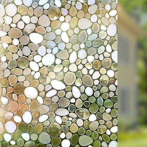 Rabbitgoo 3D Fensterfolie Fensterschutzfolie Dekorfolie Sichtschutzfolie Selbsthaftend Anti-UV 90X200CM