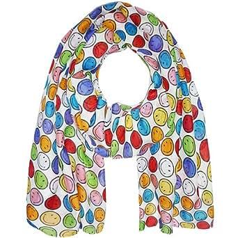 PLOMO O PLATA Cottonsilk Schal mit kleine bunten Smiley's 200 x 70 cm