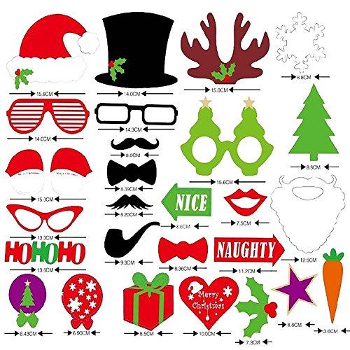 Weihnachten Santa Hat Party Masken Photo Booth Props Schnurrbart auf einem Stick 27pcs Sets von D & & R (Props Booth Photo Santa)