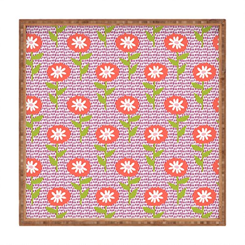 DENY Designs Zoe wodarz Dotty-Floral Square Tablett, 16x 16