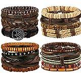 Adramata 12-17 Pcs Geflochtene Leder Armband für Herren Damen Geflochtene Armbänder