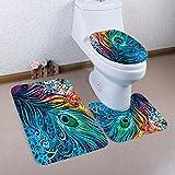 Badematten Set WC Teppiche Jamicy® 3 STÜCKE 1 Set Pastoral Drucken Badezimmer Rutschfeste Sockel Teppich + Deckel Wc-abdeckung + Badematte Set (G)