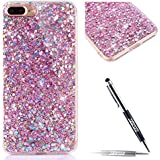 JAWSEU iPhone 7 Plus Coque Transparent Glitter,iPhone 7 Plus Etui en Silicone Clair avec Pailletee,Brilliante Bling Étoile Perles Soft Tpu Case Cover,Ultra Slim Sparkle Scintillant Flexible Souple Gel Housse Etui,Homme Femme Cristal en Silicone Caoutchouc Coque Coquille Cas Étoile Éclat Tpu Clear Case Cover Transparente Extra Slim Doux Gel Protecteur Coque Couverture pour iPhone 5/5S+1*Noir Stylo Paillettes-rose