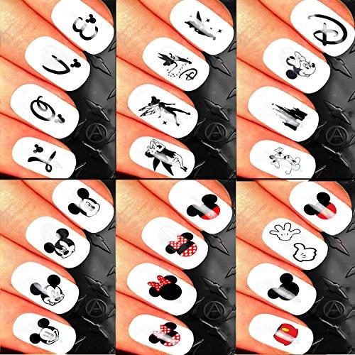 Weihnachts Nail Art Set Sticker Aufkleber Transfers. Seasonal Urlaub Cute Disney Mickey Mouse Emoji-Classic Minnie Maus Castle Sortiment PACK Fairy Tinkerbell Love Gesichter. Kann verwendet werden, mit Natürliches Gel Acryl (Aufkleber Disney)