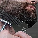 Barbe à modeler et peigne, SUNNIOIR Barbe en acier inoxydable pour le coiffage et le façonnage de l'outil de peigne pour lignes parfaites et symétrie