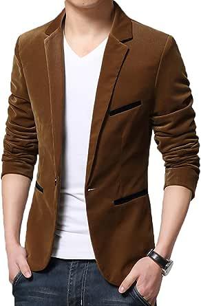 Mirecoo Men's Retro Slim Fit One Button Blazer Corduroy Suits Smart Formal Dinner Suits Jacket Size XS-XL