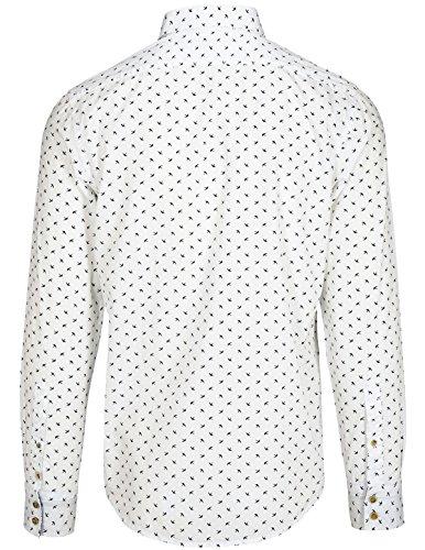 Basefield Herren Slim Fit Hemd mit Vogelprint - Weiss (218000620) 100 WEISS