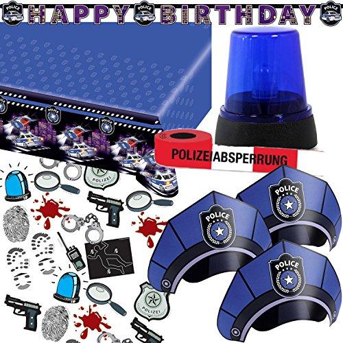78-teiliges Deko-Set * POLIZEI * für Kindergeburtstag und Motto-Party / mit LED-Blaulicht + Tischdecke + Girlande + Partyhütchen + Konfetti + Luftschlangen + Luftballons / Kinder Geburtstag Polizisten