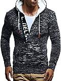 LEIF NELSON Herren Kapuzenpullover Pullover Hoodie Strickpullover Sweatshirt Sweater mit Kapuzen LN5450; Größe XL, Schwarz-Ecru