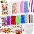 Kuuqa 24 Pack Slime Making Kit Including Micro Foam Balls Fishbowl Beads Confetti Fruit Slices Slime Tools for DIY Homemade Slime