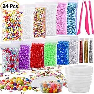 Kuuqa 24 Unidades Kit para Hacer Slime Suministros Incluyendo Micro Perlas de Espuma de Poliestireno Bolas Perlas de Pecera Confeti frutas Rebanadas Slime Herramientas para DIY Craft de KUUQA