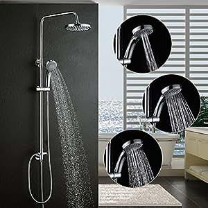 duschsystem ohne armatur bonade regendusche duschset duschs ule duscharmatur inkl 88 126 cm. Black Bedroom Furniture Sets. Home Design Ideas