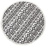 CASPAR STT001 XL Frottee Strandtuch Badetuch Saunatuch Picknick Decke groß rund mit Fransen verschiedene Motive, Farbe:ETHNO schwarz/weiß;Größe:One Size