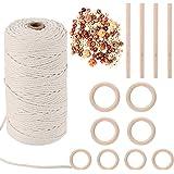 HUTHIM Macrame koord 3mm x 500 ft en 110 kralen set, 100% katoenen touw ambachtelijke touw touw voor muur opknoping plantenha