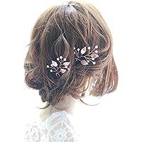 Fashion Jewery Damen Haarschmuck Accessoires Haarblumen Haargesteck Haarnadeln 2er Set 2 Stücke Tiara Diadem Blumen Blüte Braut Haarschmuck Farbe nach Wahl