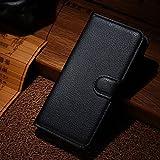 Qiaogle Teléfono Case - Funda de PU Cuero Billetera Clamshell Carcasa Cover para Wiko Wax 4G (4.7 Pulgadas) - FC02 / Negro Moda Elegante estilo