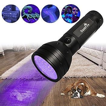 Lumière noire, DaskFire 51 lampe de poche UV torche LED UV lampe de poche détecteur d'urine pour chien Urine, taches d'animaux, punaise de lit sur tapis / tapis / plancher (3 piles AA non incluses)