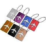 PIXNOR 7 Stück Kofferanhänger mit Namensschild Gepäckanhänger aus Metall - 7 Farben