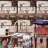 ADDFLOWER Retro Nostalgic Drawer Box Antique Wood Grain Wallpaper Ristorante Bar Negozio di abbigliamento Cafe Industrial Wind Wallpaper, A