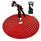 Gartenschlauch Komplett-Set flexibel, 30m dehnbar in rot, mit Multifunktions-Brause aus Metall, kein Plastik, 2017er Version, für Gartenbewässerung Autowäsche etc., zwei Schnellkupplungen aus massivem Messing (Gardena® kompatibel) und praktischer Halterung, platzsparende Aufbewahrung
