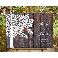 70x50 cm Wedding Tree L'albero della vita | essere firmato Albero tela impronte digitali albero matrimonio compleanno libro degli ospiti | effetto finto legno | Un guestbook originale per il matrimonio | l'albero delle impronte