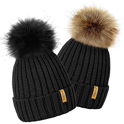 360a152d21a 4sold Rita Womens Girls Winter Hat Wool Knitted Beanie With Large Pom Pom  Cap Ski Snowboard ...