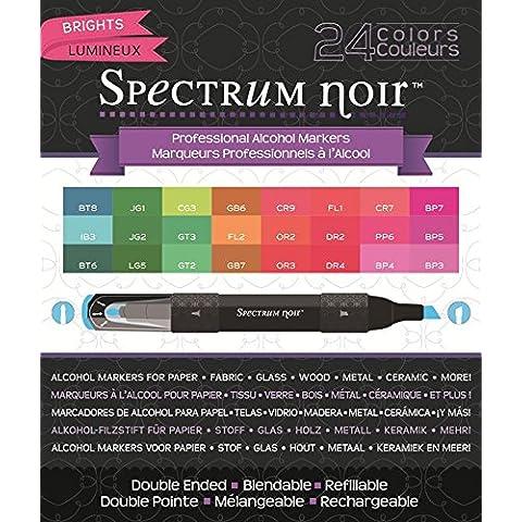 Crafters Companion SPECN24-BRIGH - Pennarelli ad alcool Spectrum Noir, 24 pezzi, luminosi