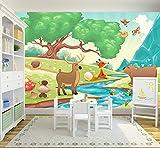Bilderdepot24 Selbstklebende Fototapete - Kinderbild - Waldtiere II Cartoon - Fuchs, Elch und Bär - 150x100 cm - Poster – Dekoration – Wandbild – Wandposter – Wand - Wanddeko