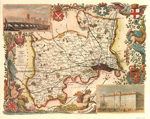 Middlessex-Antike Weltkarte-- Karte, 50.80 x 40.64 cm - County England-antik-karte